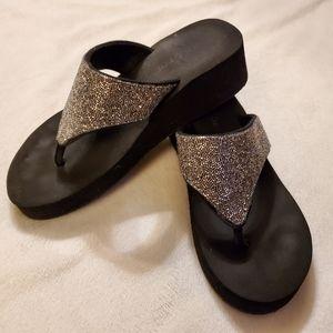 Goldtoe Silver Bugle Bead Sandals,  Black Platform